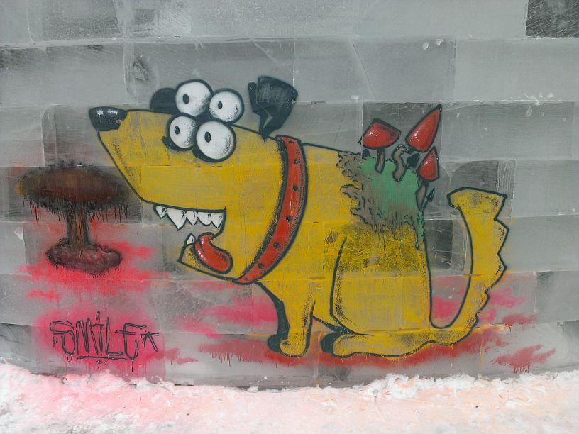 Эко-собака Ледовое граффити 2017